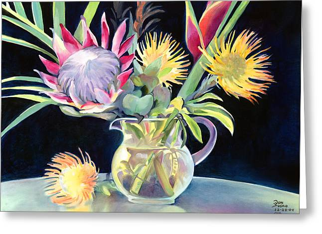 Don Jusko Greeting Cards - Annas Protea Flowers Transparent Greeting Card by Don Jusko
