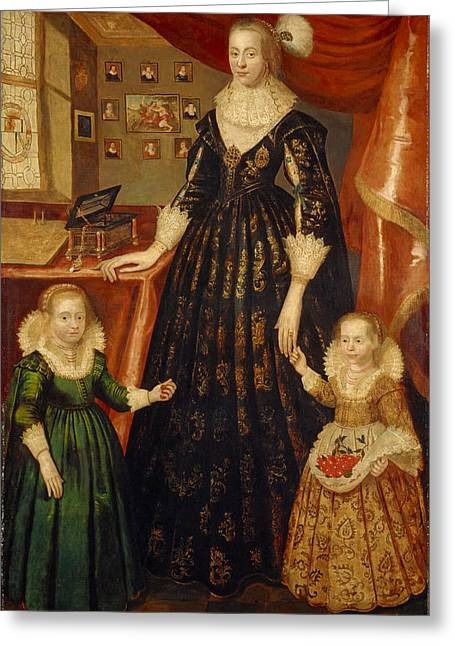 Lead Greeting Cards - Anne Erskine, Countess Of Rothes D.1640 And Her Daughters, Lady Margaret And Lady Mary Leslie, 1626 Greeting Card by George Jamesone