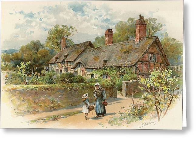 Anne Hathaway's Cottage At Shottery Greeting Card by William Stephen Coleman