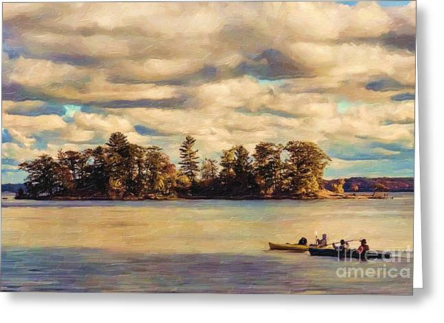 Ludington State Park Greeting Cards - Anne Lacys Hamlin Lake Greeting Card by Lianne Schneider and Anne Lacy