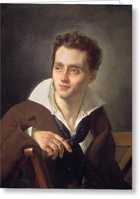 Girodet Greeting Cards - Portrait of a Young man half-length seated Greeting Card by Anne-Louis Girodet-Trioson