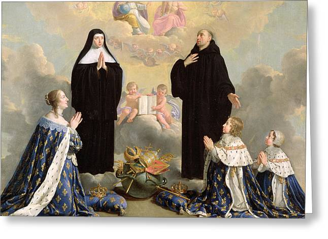 Benedict Greeting Cards - Anne Of Austria 1601-66 And Her Children At Prayer With St. Benedict And St. Scholastica, 1646 Oil Greeting Card by Philippe de Champaigne