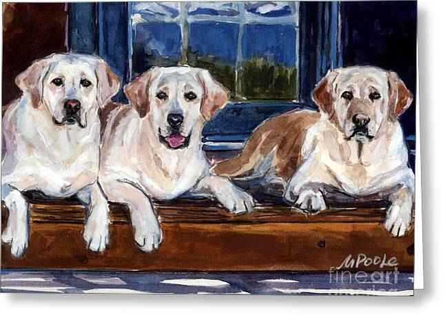 Yellow Lab Greeting Cards - Annie and her Sisters Greeting Card by Molly Poole
