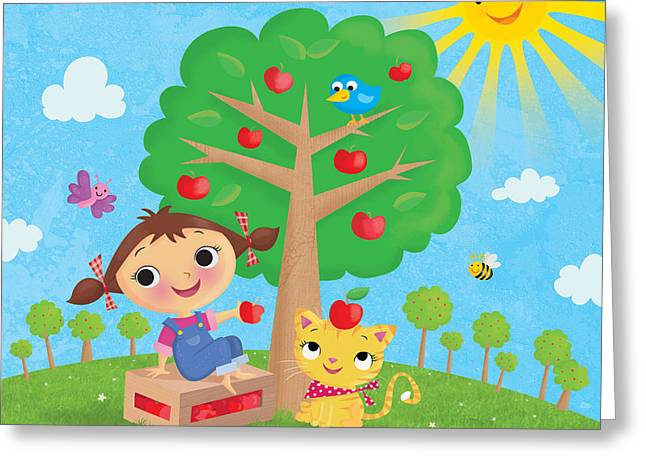 Dungarees Greeting Cards - Annie Apple Greeting Card by Louise Gardner