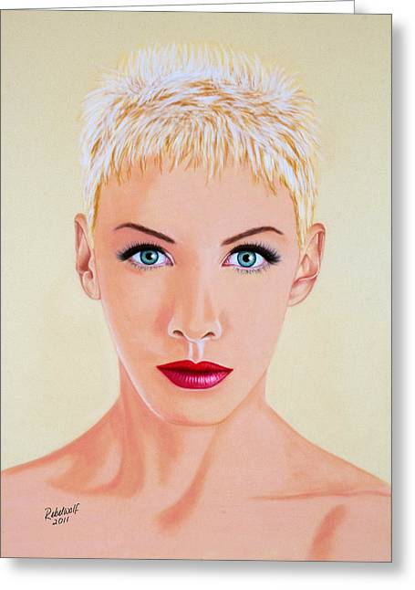 Pop Singer Pastels Greeting Cards - Annie Greeting Card by Rebelwolf