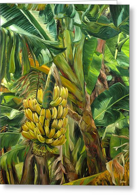 Stacy Vosberg Greeting Cards - Annies Bananas Greeting Card by Stacy Vosberg