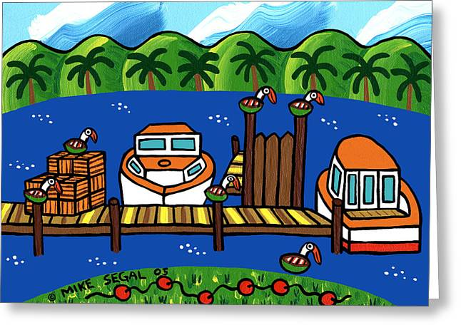 Cedar Key Greeting Cards - Annies Dock - Cedar Key Greeting Card by Mike Segal