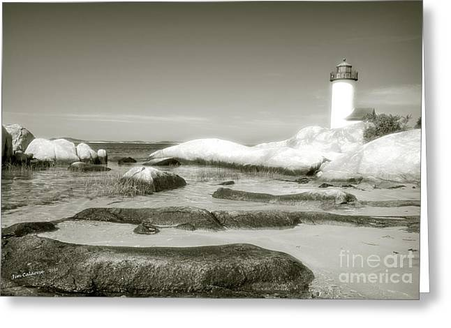 New England Lighthouse Greeting Cards - Annisquam Lighthouse  Greeting Card by Jim  Calarese