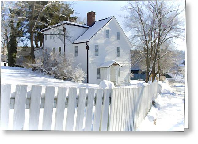 New England Village Greeting Cards - Annisquam Winter Greeting Card by Donna Doherty