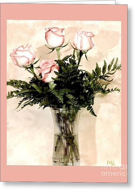 Glass Vase Greeting Cards - Anniversary Love Bouquet Greeting Card by Marsha Heiken