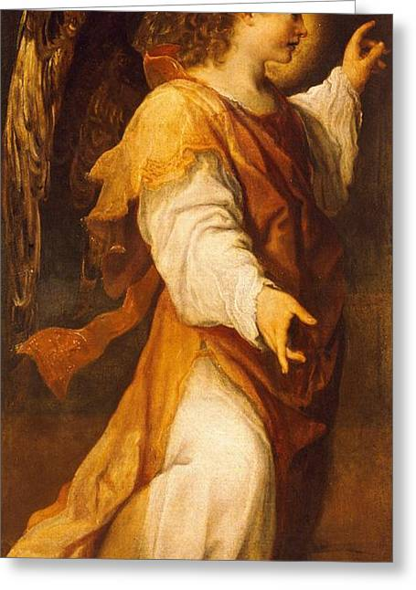 Political Movement Greeting Cards - Announcing Angel Greeting Card by Annibale Carracci