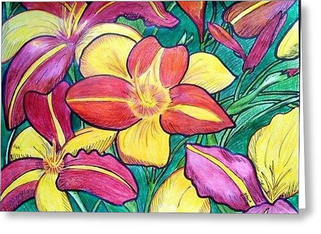 Day Lilly Drawings Greeting Cards - Anns Lillies Greeting Card by Starlene ONeal