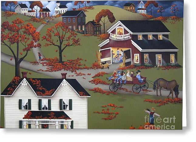 Primitives Greeting Cards - Annual Barn Dance and Hayride Greeting Card by Catherine Holman