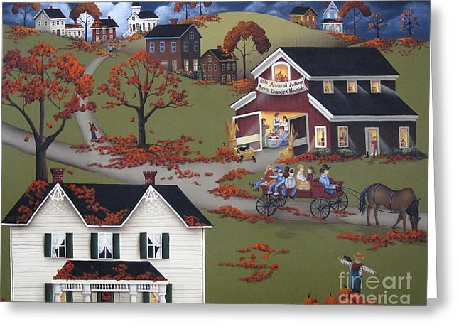 Acrylic Art Paintings Greeting Cards - Annual Barn Dance and Hayride Greeting Card by Catherine Holman