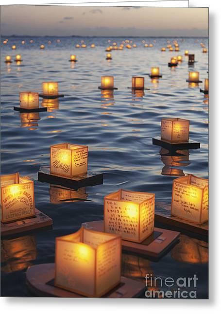 Ala Moana Greeting Cards - Annual lantern floating ceremony during sunset at Ala Moana_ Oahu, Hawaii, United States of America Greeting Card by Brandon Tabiolo