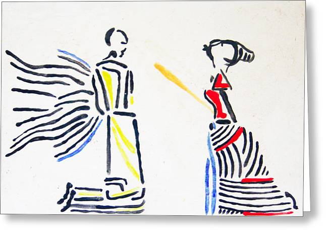 Ugandan Ceramicist Ceramics Greeting Cards - Annunciation Greeting Card by Gloria Ssali