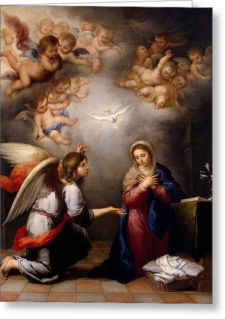 Religious Paintings Greeting Cards - Annunciation Greeting Card by Murillo