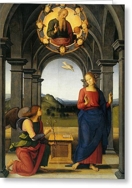 Santa Maria Nuova Greeting Cards - Annunciation of Fano Greeting Card by Pietro Perugino
