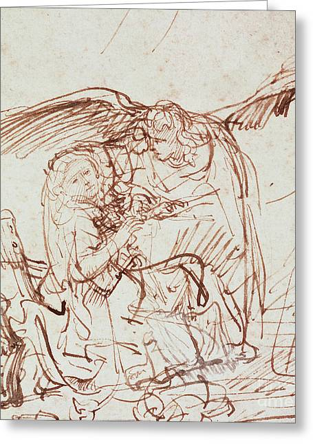 Incarnation Drawings Greeting Cards - Annunciation  Greeting Card by Rembrandt Harmenszoon van Rijn