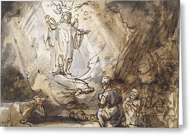 Archangel Greeting Cards - Annunciation To The Shepherds Pen And Ink On Paper Greeting Card by Rembrandt Harmensz. van Rijn