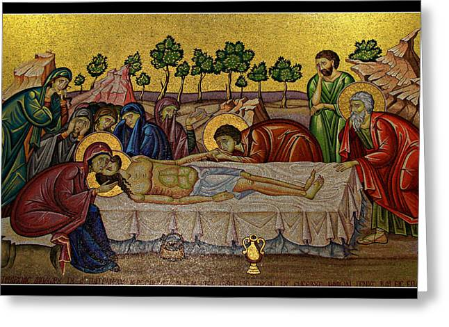 Byzantine Greeting Cards - Anointing Greeting Card by Stephen Stookey