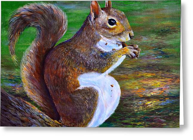 Tree Roots Paintings Greeting Cards - Another Acorn Greeting Card by AnnaJo Vahle