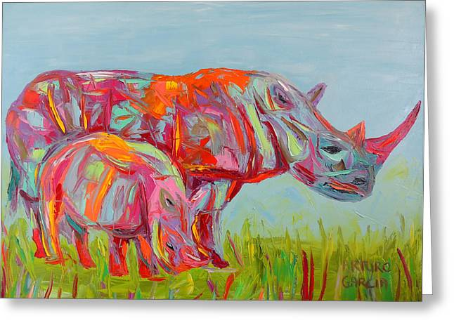 Rhinoceros Mixed Media Greeting Cards - Another Beautiful Day Greeting Card by Arturo Garcia