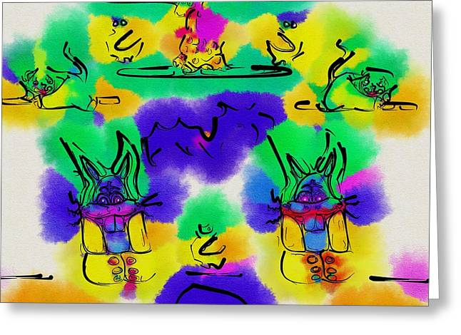 Bunnie Greeting Cards - Another Blueprint in abstract Greeting Card by Pepita Selles