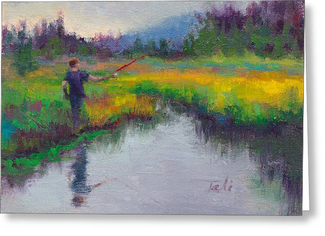 Plain Air Artist Greeting Cards - Another Cast - fishing in Alaskan stream Greeting Card by Talya Johnson