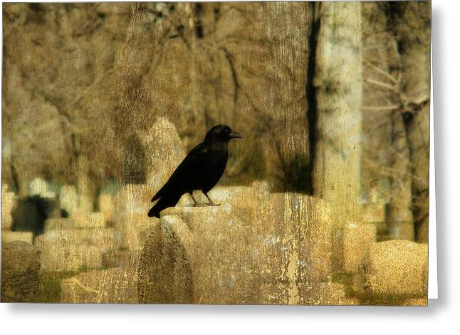 Ravens In Graveyard Greeting Cards - Another Day Greeting Card by Gothicolors Donna Snyder
