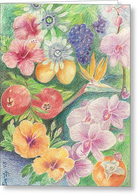 Blue Grapes Drawings Greeting Cards - Another Day in Paradise Greeting Card by Eve-Ly Villberg