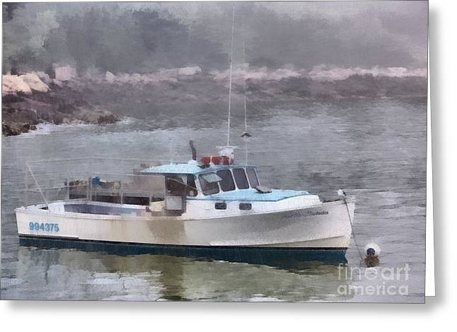 New England Marina Park Greeting Cards - Another Foggy Morning Greeting Card by Helene Guertin