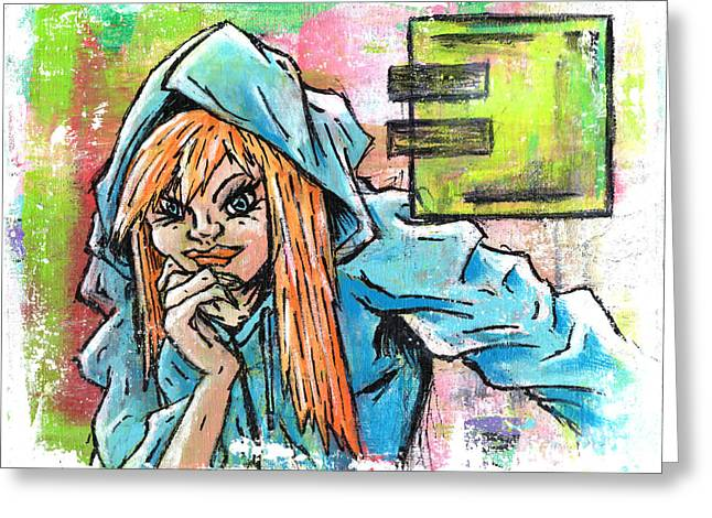 Hoodies Drawings Greeting Cards - Another Girl in a Hoodie Greeting Card by Matthew Martnick