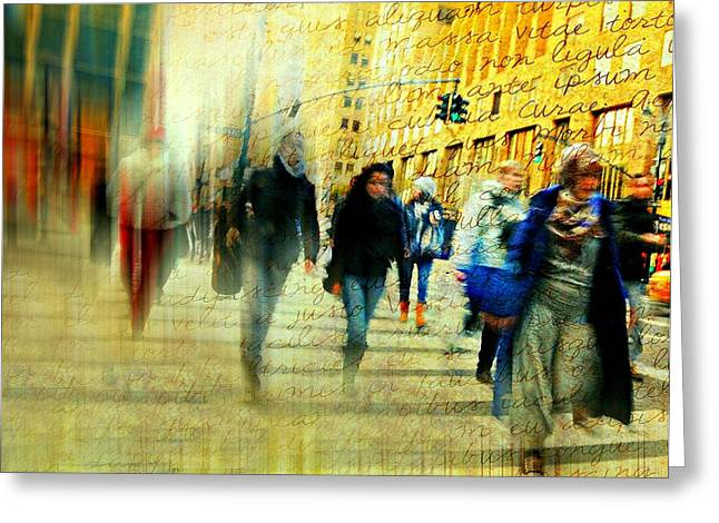 Long Street Greeting Cards - Another Hundred People Greeting Card by Diana Angstadt