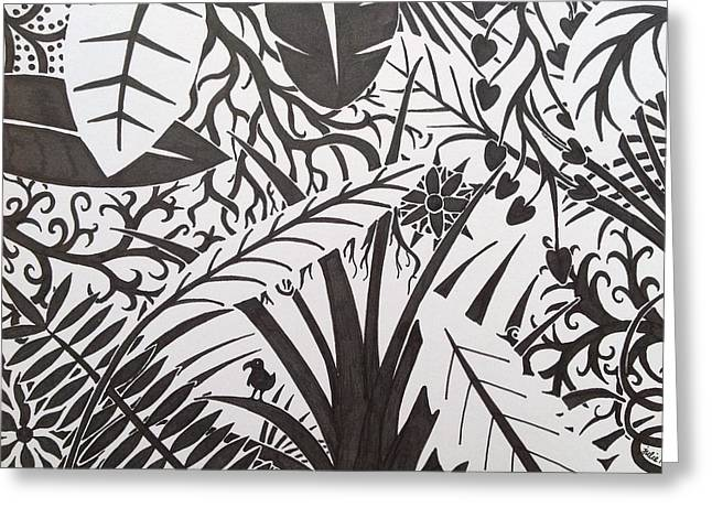 """""""jungle Vines"""" Greeting Cards - Another Jungle in Black and White Greeting Card by Julie Myers"""