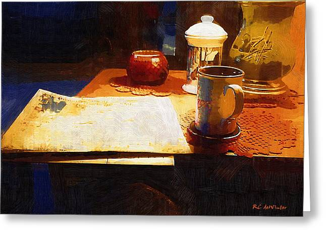 Interior Still Life Digital Greeting Cards - Another Night with Nothing But the News Greeting Card by RC DeWinter