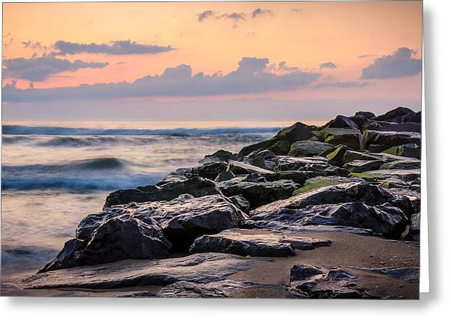Ocean Shore Greeting Cards - Another Ocean Grove Sunrise Greeting Card by Steve Stanger