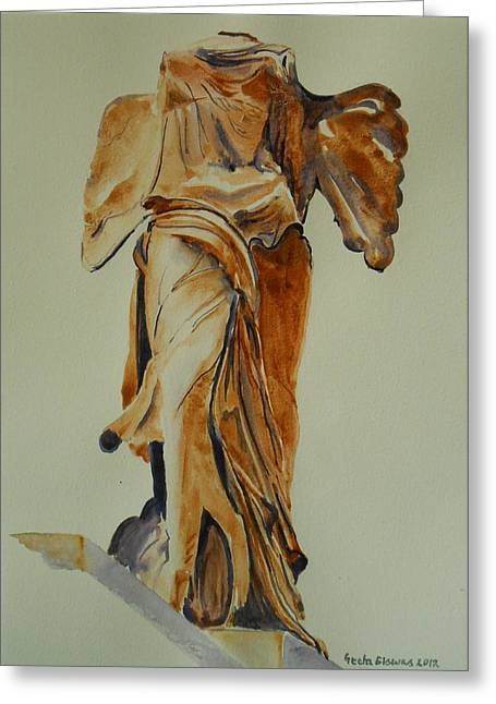 """winged Victory"" Greeting Cards - Another perspective of The Winged Lady of Samothrace  Greeting Card by Geeta Biswas"