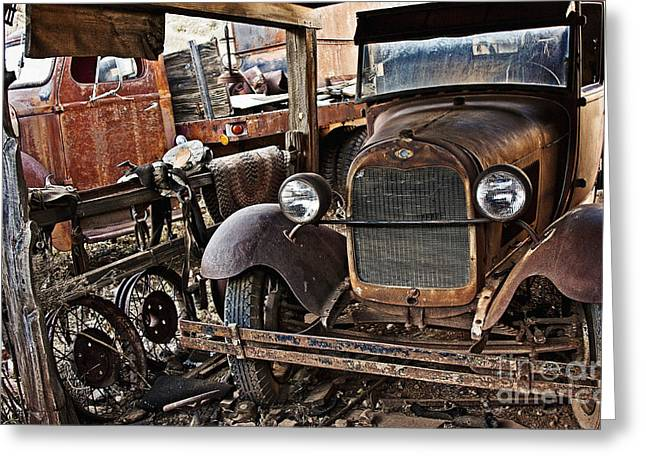 Rusted Cars Greeting Cards - Another Rusty Old Truck Greeting Card by Lee Craig