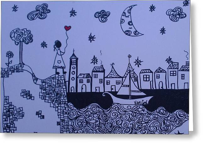 Star Fish Drawings Greeting Cards - Another Starry Night Greeting Card by Ana Julia Fishman