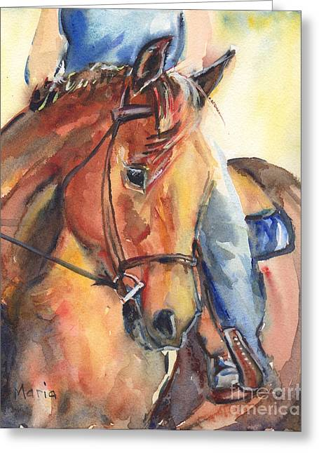 Horse And Riders Greeting Cards - Horse in watercolor Another Sunrise Greeting Card by Maria