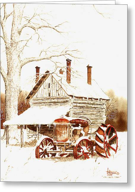 Old Barns Drawings Greeting Cards - Another Time Greeting Card by Larry Johnson