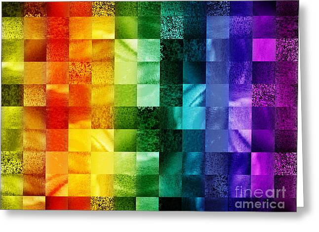 Art Quilt Greeting Cards - Another Kind Of Rainbow Greeting Card by Irina Sztukowski