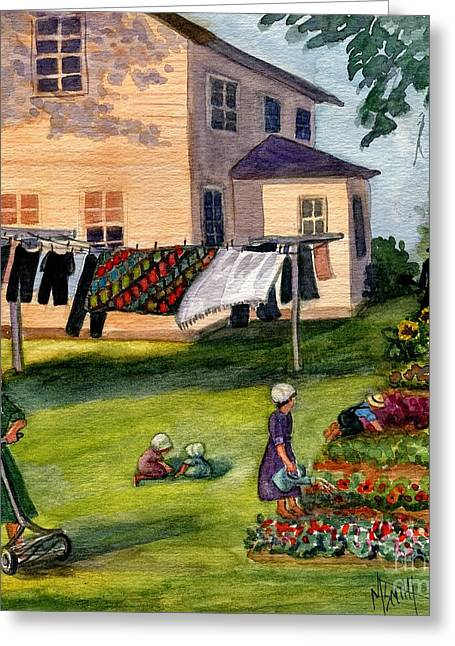 Amish Family Paintings Greeting Cards - Another Way Of Life II Greeting Card by Marilyn Smith