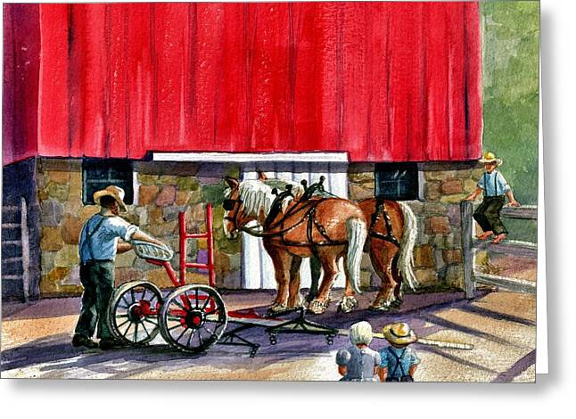 Amish Family Paintings Greeting Cards - Another Way of Life Greeting Card by Marilyn Smith