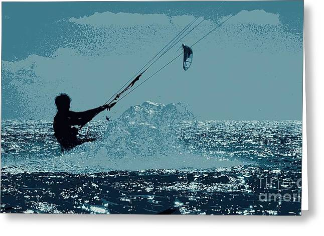 Kite Surfing Greeting Cards - Another Wet Dream Greeting Card by Pamela Blizzard