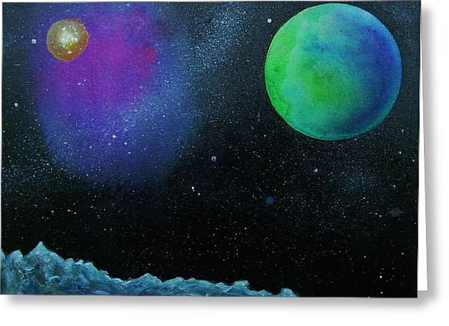 Outer Space Paintings Greeting Cards - Another World - SOLD Greeting Card by Lou Cicardo