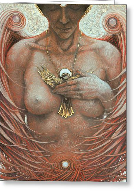 Gold Angel Greeting Cards - Anpiel Greeting Card by Graszka Paulska