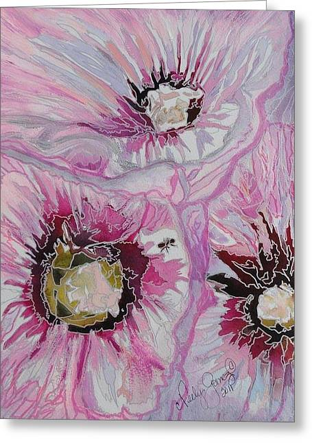 Jo Anne Neely Gomez Paintings Greeting Cards - Ant Exploring Hollyhock Greeting Card by Jo Anne Neely Gomez