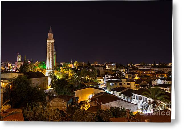 Long Street Greeting Cards - Antalya at Night Greeting Card by Bahadir Yeniceri